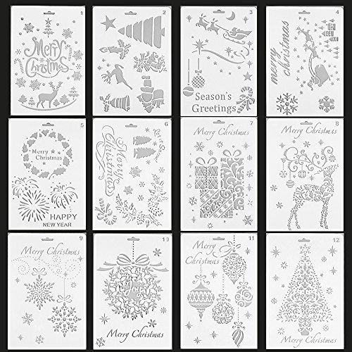 12pezzi Set di Natale stencil stencil in plastica planner disegno modello per Journal/Notebook/Diary/scrapbook/Art progetti creativi/calendario libro fai da te