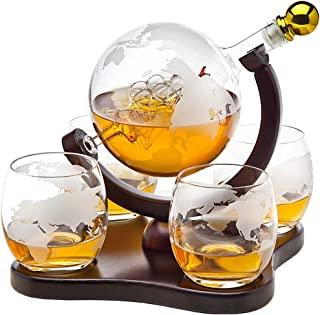 Whiskey Decanter Globe Set with 4 Etched Globe Whisky Glasses – for Liquor, Scotch,..