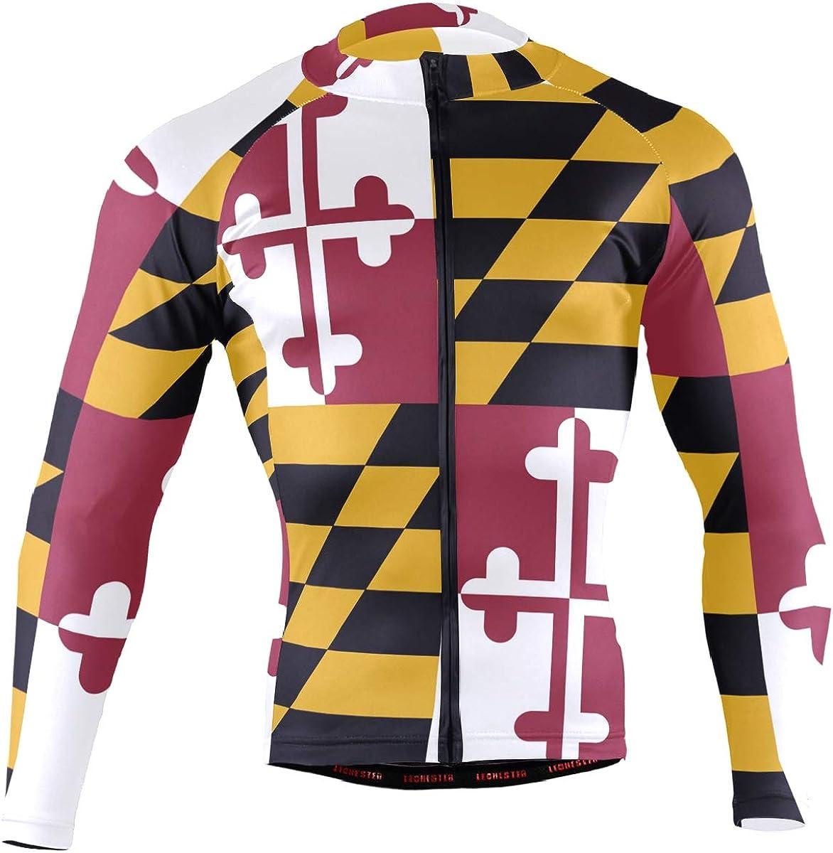 DerlonKaje Maryland Flag NEW before selling Men's Cycling Long Sleeve Jersey Award Breath