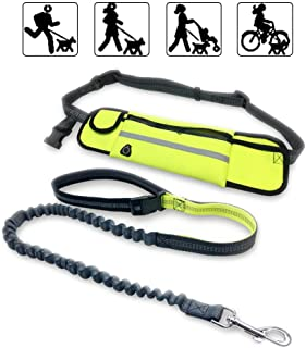 WishLotus Hands Free Dog Leash for Running Walking Outdoor Training Belt Dog Accessories Include Waterproof Waist Pack and Nylon Retractable Dog Belt Suitable for Small and Medium Pets up to 88 lbs