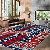 Alfombra hogar Alfombra Lavable Costura de Letras inglesas de Estilo Deportivopara Dormitorio y decoración del hogar Rug 200*300