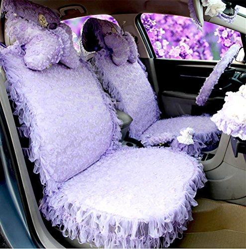 CUSHION RUIRUI Traumdeutung rosa hochwertige Damen niedlichen Cartoon-Autositz Cover Sitz Spitze Frauen spezielle Hals Kissen Auto Autozubehör, Purple