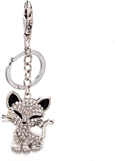 Liavy's Cat Charm Fashionable Keychain - Sparkling Crystal - Clear