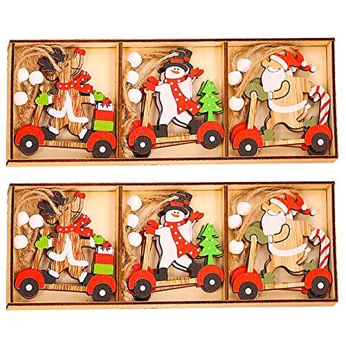 CHEPL Ciondolo in Legno di Natale 18 Pezzi Natalizi Addobbi Albero Ornamento in Legno Decorativi per Albero di Natale Fai da Te