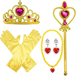 Princess Dress Up Party Costume Accessories Set For Princess Belle Cosplay Tiara Wand and Gloves