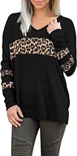 Women's Long Sleeve V Neck T Shirts Leopard Print Tops Colorblock Casual Loose Tee