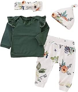 XMWEALTHY Unisex Newborn Outfits Clothes Sets Comfy Baby Girls Pant Sets 4 PCS Long Sleeve Tops Headband Xmas