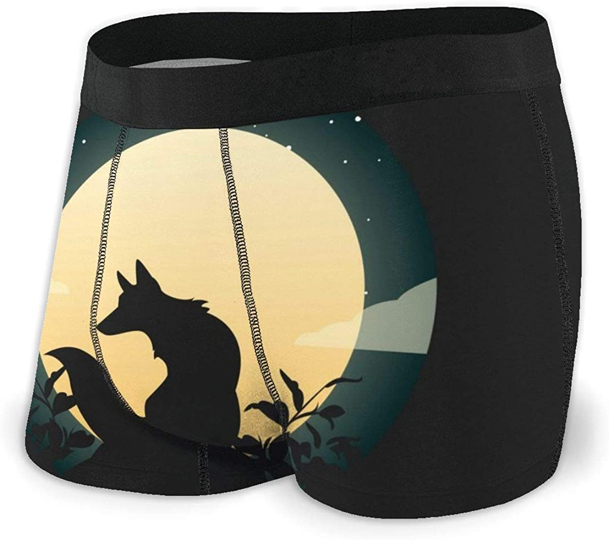 Mens Boxer Briefs Night with Wolf Vector Cool Breathable Underwear
