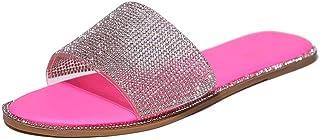 Dames Slingback Peep Toe Slip On Comfortabele platte strandsandalen met strass zomer outdoor sandalen