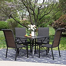Sophia & William Patio Dining Set 5 Piece Wicker Outdoor Table Furniture Set - 4 High-Back Rattan Backyard Garden Chairs and 1 Metal Square Patio Table with 1.57