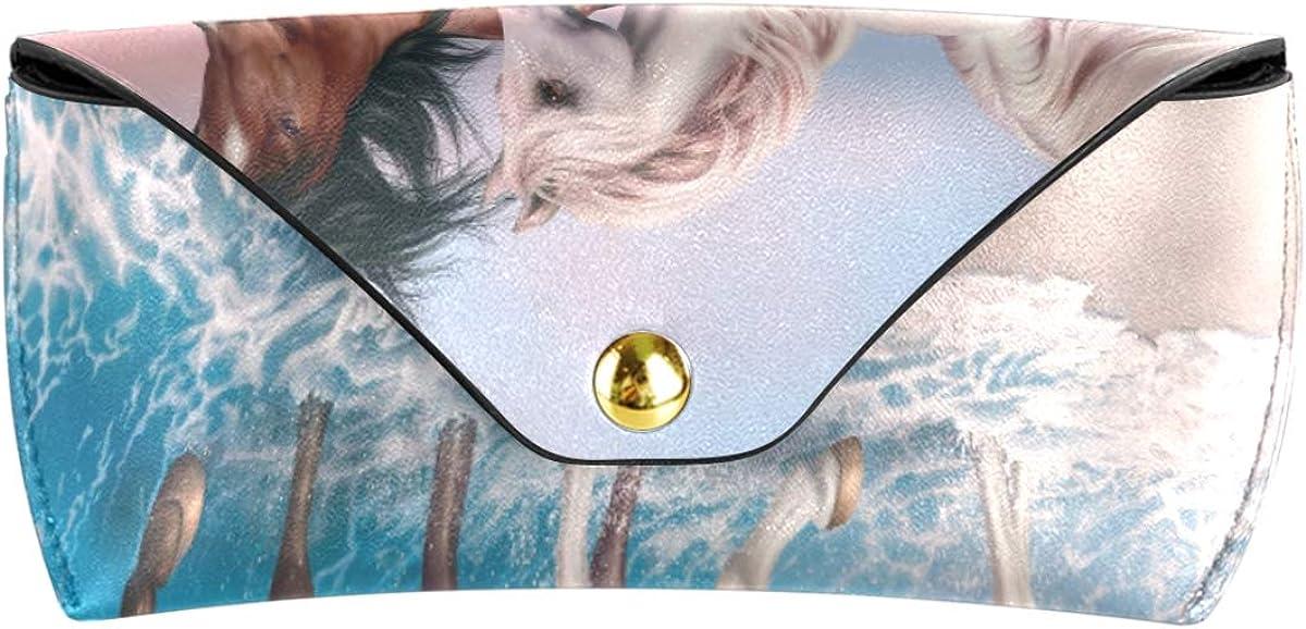 Sunglasses Case Eyeglasses Pouch Portable Ocean Sea Horse Couple Walking Goggles Bag Multiuse present PU Leather