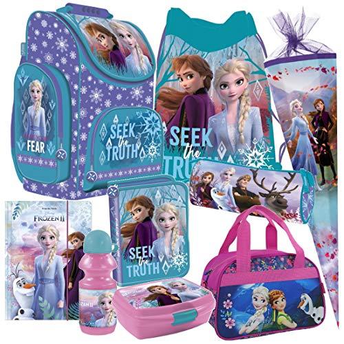 Frozen 2 II Anna ELSA Olaf EISKÖNIGIN 9 Teile Set Schulranzen Ranzen TORNISTER Tasche mit Sticker von kids4shop Federmappe Schultüte 85 cm
