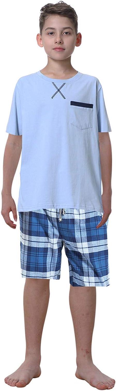 Leisure Home Big Boys Pajamas,100% Cotton Long Plaid Shirt Pants Sets Loungewear Teenager 10-17 Years