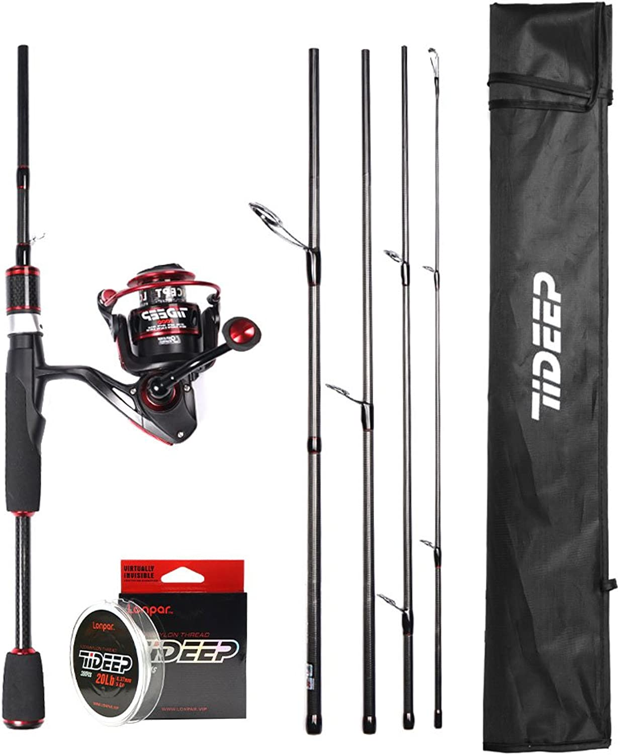 LONPAR Spinning Rod and Reel Combos 24T+30T High Grade Carbon Fiber Blank Rod with 8+4BB Lightweight Smooth Reel Free Nylon Line Saltwater Freshwater Fishing Rod Kit