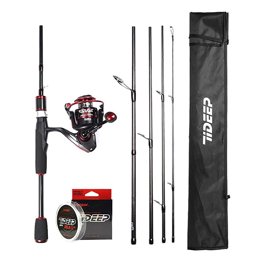 LONPAR Spinning Rod and Reel Combos 24T+30T High Grade Carbon Fiber Blank Rod with 8+1BB Lightweight Smooth Reel Free Nylon Line Saltwater Freshwater Fishing Rod Kit