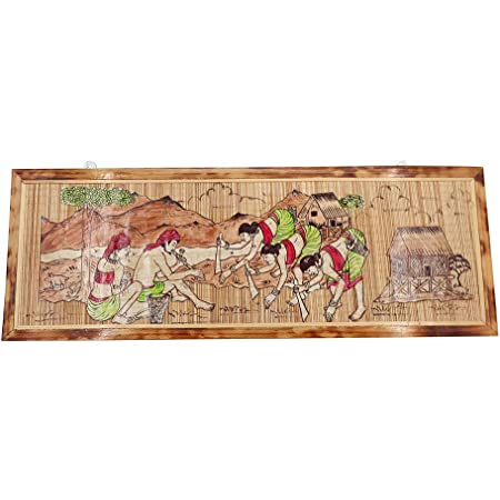 The Bamboowala Nature Tribal Scenery Themed Bamboo Decorative Home Decoration Handcrafted Handmade Wall Frame Panel (Multicolour, 36x26x16 cm)