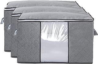 ventana transparente almohada de edred/ón con cierre de cremallera Fyore Bolsa impermeable antibacteriana para debajo de la cama Gris almacenamiento extra grande para ropa 100L 70L 50L