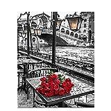Mileelife Pintar por números para niños Adultos Kit de Pintura al óleo DIY Principiante - Rosas Rojas sobre la Mesa 1