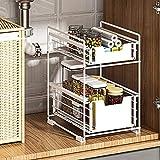 Canasta de almacenamiento para fregadero de 2 niveles, cajón deslizante para el hogar, organizador de gabinetes de cocina, organizadores para debajo del fregadero y organizador para fregadero de bañ