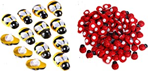 GWOKWAI 100Pcs Wood Bees & 100Pcs Wood Ladybugs, Mini Self-Adhesive Painted Yellow Bee and Red Ladybird 3D Craft Insect Decorative Accessories for Garden Plants Micro-Landscape Home Decor