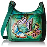Anna by Anuschka Women's Genuine Leather Large Hobo Handbag   Zip-Top Multi-Compartment Tall Organizer   Summer Wings
