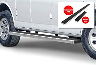 APS iBoard Running Boards (Nerf Bars Side Steps Step Bars) Compatible with 2003-2020 Chevy Express GMC Savana 1500 2500 3500 Full Size Van (Silver Powder Coated 5 inches)