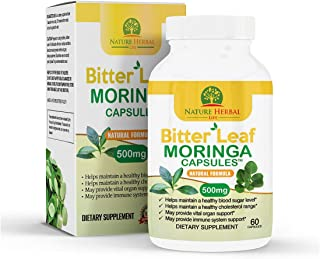 Bitter Leaf Moringa Oleifera Capsules. 1 Bottle (500mg) 60 Pure Leaf Veg Capsules. Natural Antioxidant and Immune Booster ...