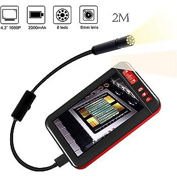 2,40 Voiture IP67 Imperm/éable Inspection Murale 4 lumi/ères LED de luminosit/é diam/ètre de 8mm pour Usage Domestique JUMPER Cam/éra dinspection dendoscope avec /écran ACL et Sortie vid/éo Tuyau