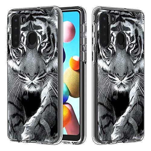 Miagon 2 in 1 Hart PC und Weich TPU Innere Durchsichtig Klar Hülle für Samsung Galaxy A21,Bunt Muster Anti Gelb Stoßfest Handyhülle Schutzhülle Bumper Case,Tiger