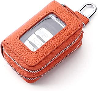 Leather Key Case Double Zipper Open Window Leather Car Key Holster (Color : Orange, Size : S)