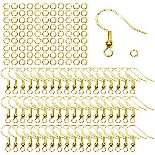 TOAOB 50 Piezas 18 mm Tono Dorado Baño de Plata de Ley 925 Hipoalergénica Ganchos para pendientes con 50 Piezas 4 mm Anillos de Salto Abiertos Utilizan para Hacer Joyas Aretes