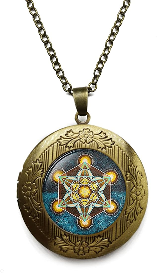 Vintage Bronze Tone Locket Picture Pendant Necklace Geometry Chakra Included Free Brass Chain Gifts Personalized