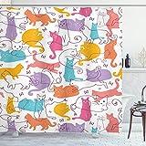 Ambesonne Cat Shower Curtain, Colorful Cats Jumping Playing Sitting Relaxing Feline Joyful Modern Line Art, Cloth Fabric Bathroom Decor Set with Hooks, 70' Long, Mustard Purple