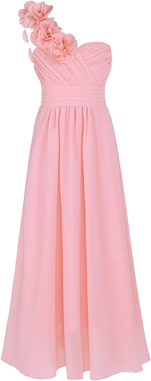 Freebily Girls Chiffon One-Shoulder Flower Long Dress Princess Pageant Wedding Ceremony Baptism Party Prom Gowns