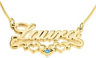 Personalized Custom 24K Gold Plated Hearts Name Necklace with Swarovski Stone Jewelry