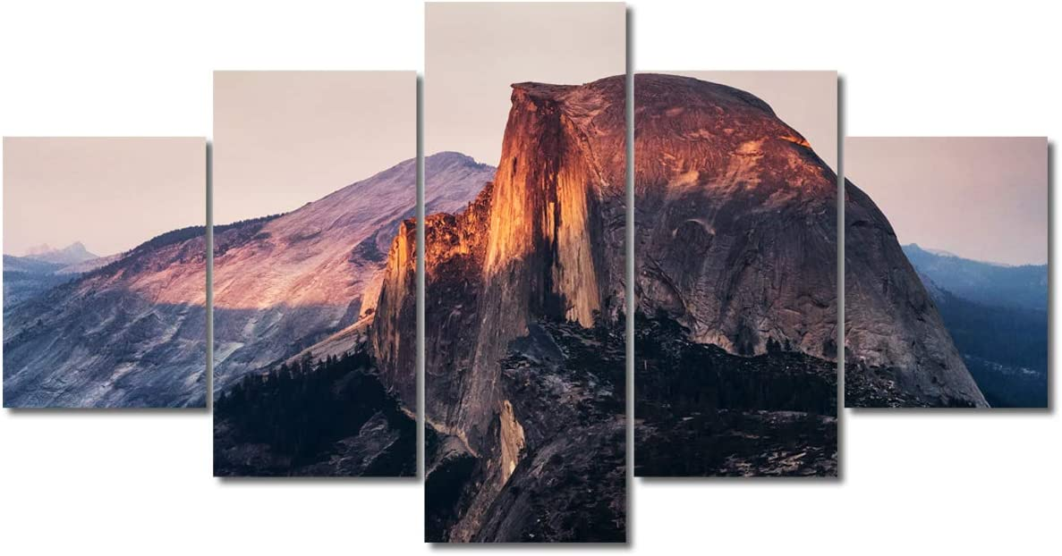 TUMOVO 5 Piece Canvas Wall Art - Mountain Landscape,Half Dome in Yosemite National Park, California,USA - Modern Home Decor Stretched and Framed Ready to Hang