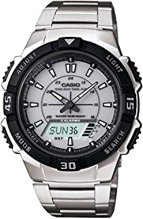 Casio Men's AQS800WD-7EV Silver Stainless-Steel Quartz Watch with White Dial