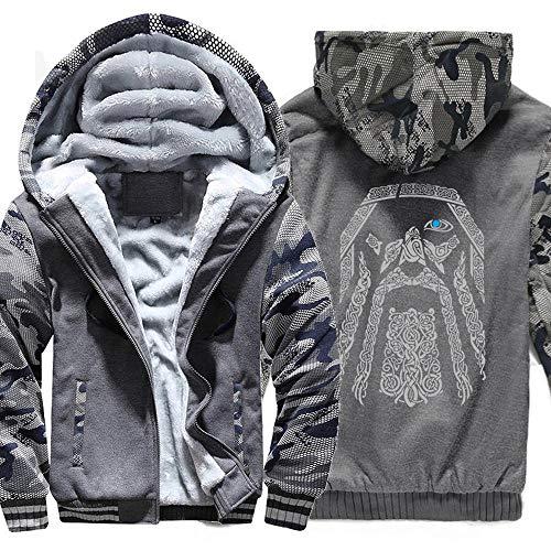 QAQQQ Hoodie Vikings Motif Hommes Vêtements De Sport Fermeture à Glissière à Manches Longues Réchauffez Sweat Convient C-XXXXXL