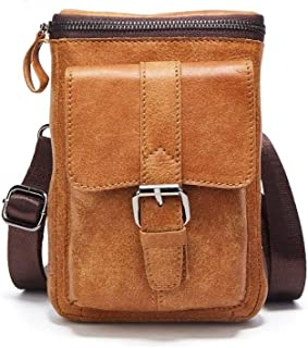 Haibeisi Fashion Unique Leather Brown Small Men's Purse Bag Sling Multi-Functional Leisure Shopping Business Trip Bag (Color : Brown, Size : 1size)