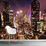 ZLYYH 3D Wallpaper Wandbild,Hong Kong City Night View