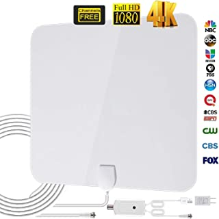 HD Digital TV Antenna Indoor, Amplified Indoor HDTV Antenna, Best 80 Miles Long Range TV Aerial with Amplifier Signal Booster Support 4K 1080P UHF VHF Freeview HDTV Channels,16.4ft Coax Cable