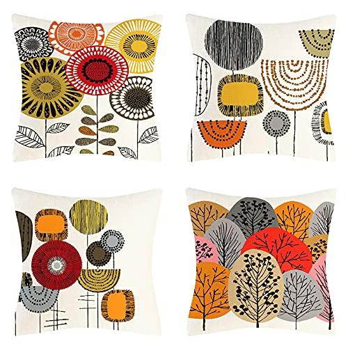 Juego de 4 Funda de Cojín de Dibujos Animados Abstractos Flor árbol Decoración Funda de Cojín Lino Suave Funda de Almohada de Granja 45x45 cm para Sofá Sala de Estar Dormitorio