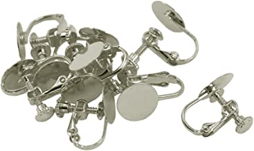 dailymall 10pcs No Piercing Screw Clip On Stud Earring Blank Base Pad DIY Design Craft - Silver