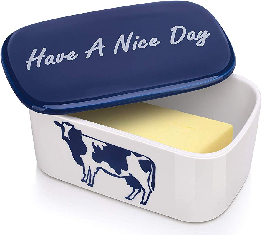 DOWAN Porcelain Butter Dish With Easy Clean Lid Large Butter Keeper And Deep Container Cow Pattern Blue