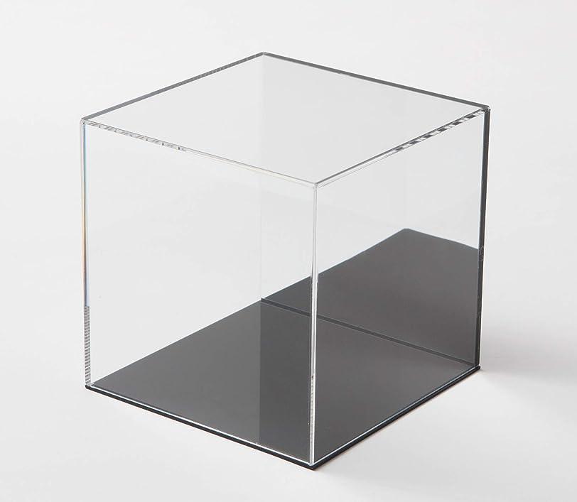 認知感動する遺跡鈴木プラスチックス アクリル展示ケース 背面ミラー 台座黒タイプ (W300xD300xH300)