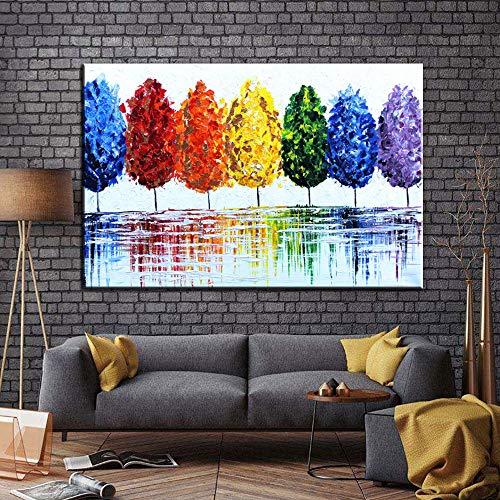 HGlSG Abstract boomlandschap Olieverf op doek Abstracte foto's Prints Art Canvas Picture voor studeerkamer Kinderkamer A2 60x80cm