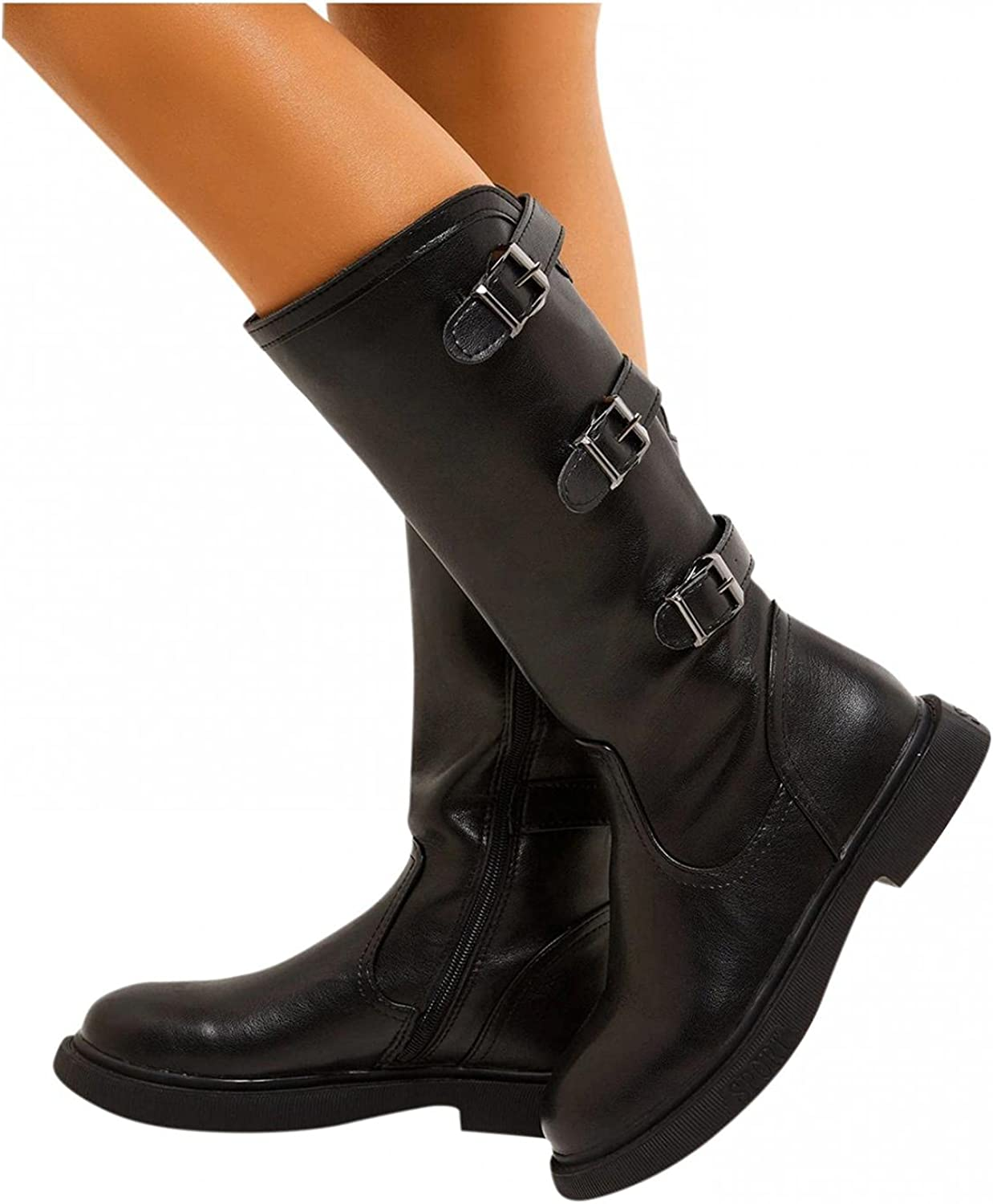 Cowgirl Boots for Women Buckle Mid Calf Boots Low Block Heels Platform Boots Slip On Rider Cowboy Boots Casual Shoes