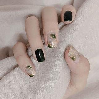 Handcess Unghia quadrata lucida finta verde Breve stampa sulle unghie Gradiente acrilico Art Full Cover Unghie finte per d...
