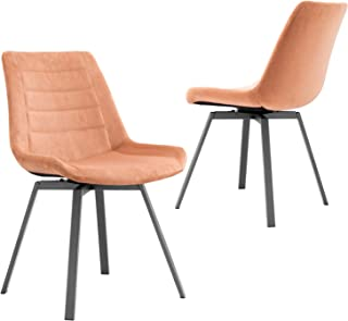 OVIOS Dining Chairs,Velvet Accent Chair Set of 2,Swivel Kitchen Chairs with Sturdy Metal Legs. (Coral Orange)