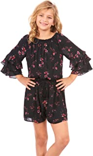 Big Girls' Off-The-Shoulder Spring/Summer Romper with Ruffle Sleeves and Tassel Tie, Size 7-16